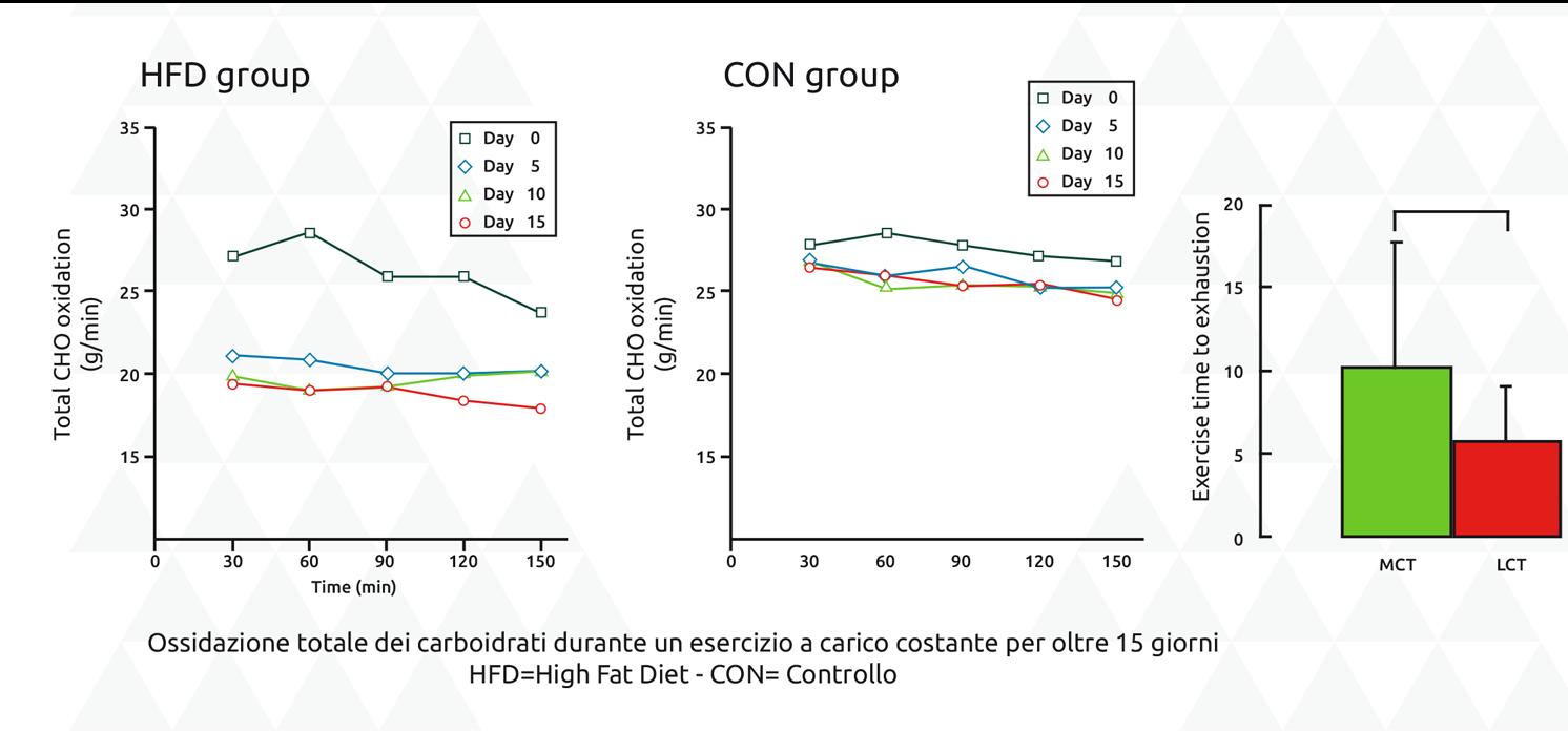 Ossidazione totale dei carboidrati durante un esercizio a carico costante per oltre 15 giorni